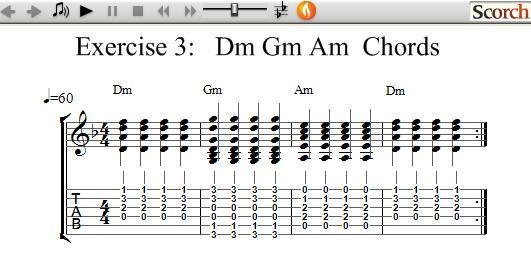 Guitar guitar chords dm : FreeMusicLessons4u.com - Dm Gm Am Chord Exercise - Left Handed