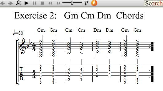 Guitar guitar chords dm : FreeMusicLessons4u.com - Gm Cm Dm Chord Exercise - Left Handed